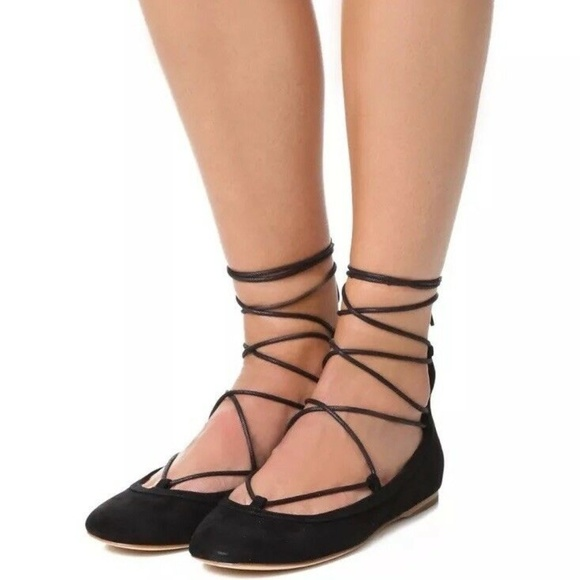 Joie Shoes   Suede Ballet Ankle Lace Up